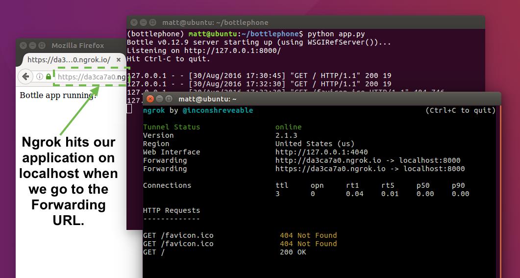 Вставьте URL-адрес пересылки ngrok в текстовое поле конфигурации веб-перехватчика Twilio.