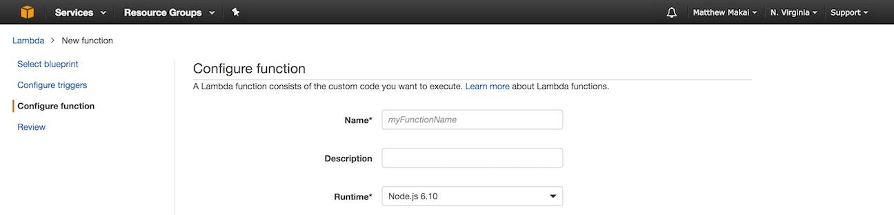 Экран конфигурации Lambda.