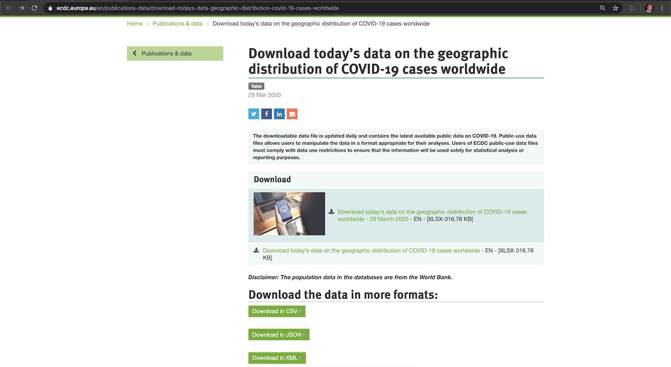 Загрузите CSV-версию данных о COVID-19.