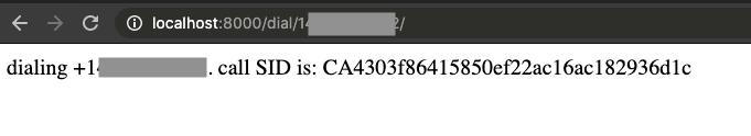 Идентификатор безопасности вызова Twilio обслуживается через веб-приложение Django.