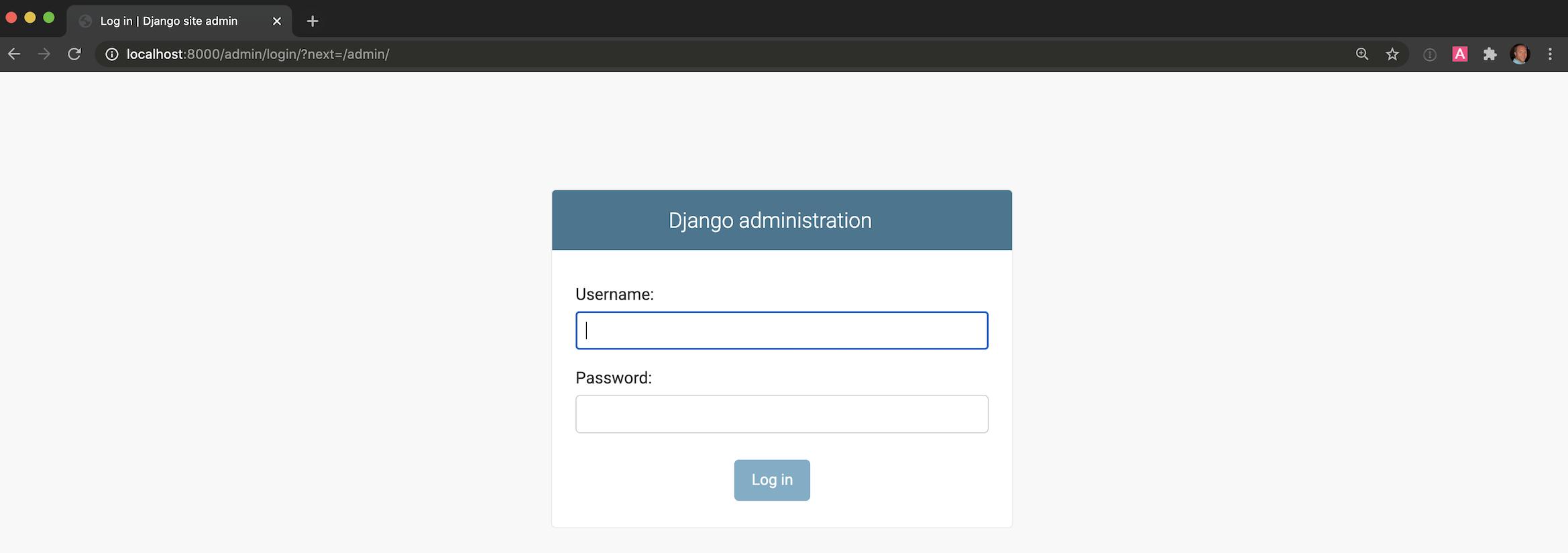 Экран входа администратора Django по умолчанию.