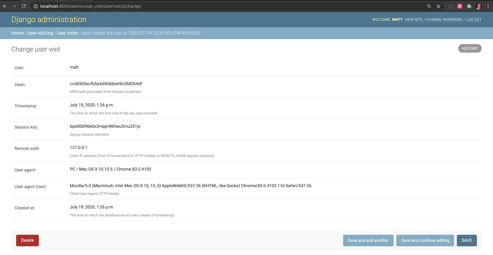 django-user-visit страница сведений в админке Django.