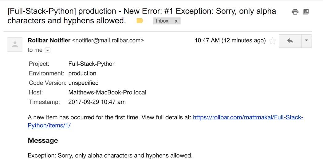 Электронное письмо с отчетом об ошибке Rollbar.