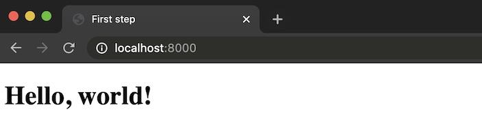 Веб-браузер отображает простой текст «Hello, world!».