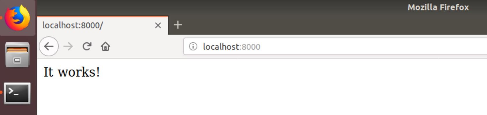 Проект Django, запущенный в веб-браузере Firefox.