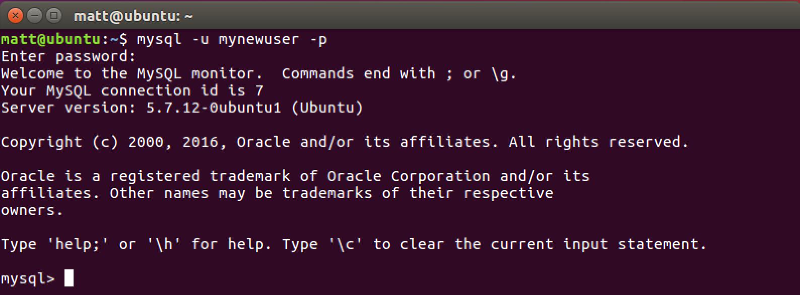 Подключитесь к MySQL как новый пользователь, которого мы только что создали.