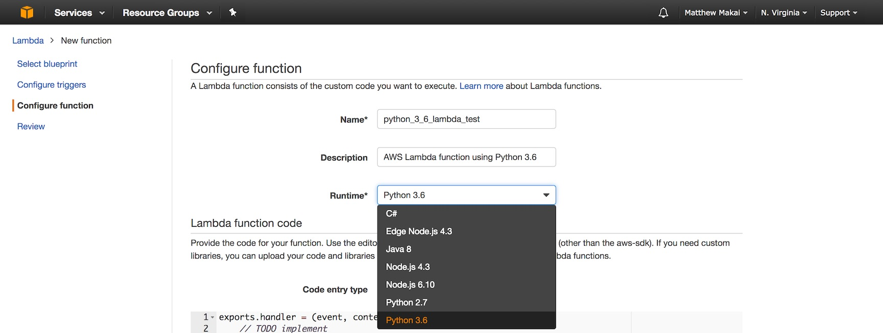 Введите имя, описание и используйте Python 3.6 для Lambda.