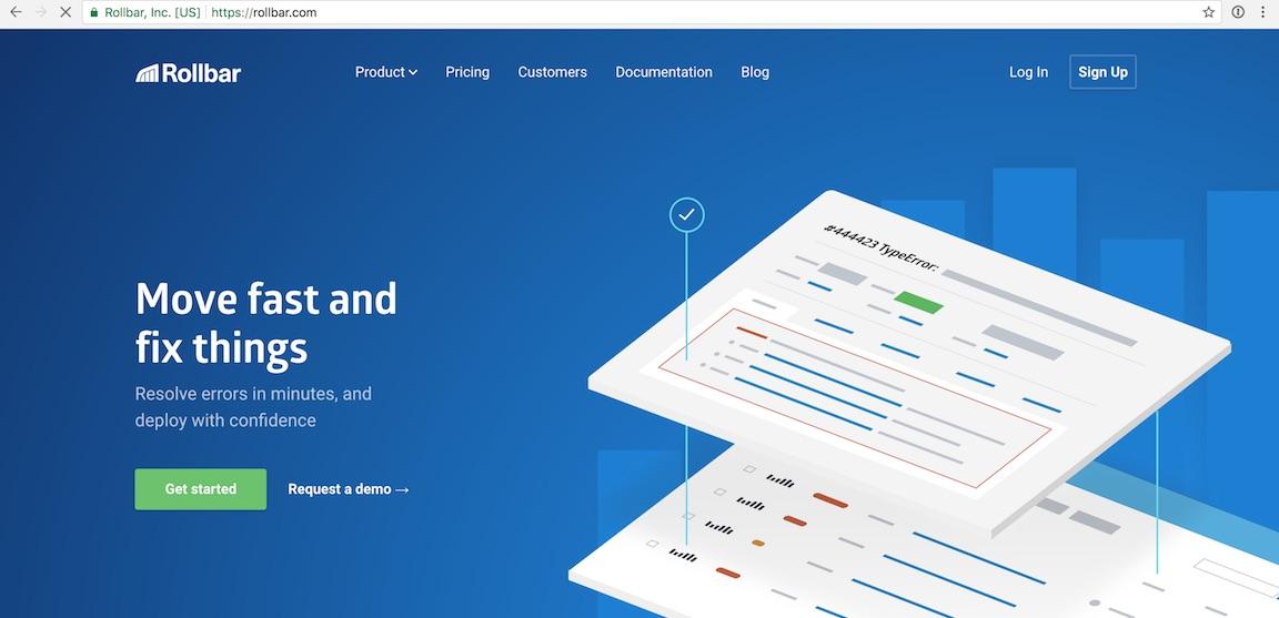 Домашняя страница Rollbar в веб-браузере Chrome.