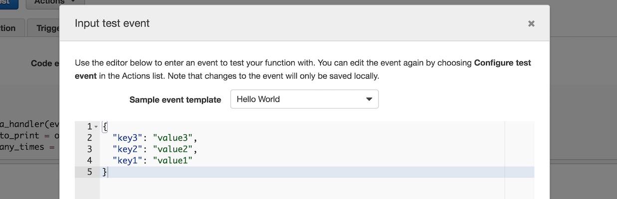 Образец шаблона события для выполнения Lambda.