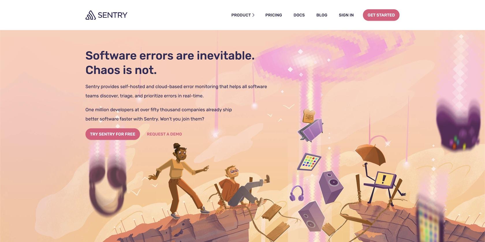 Домашняя страница Sentry.io, на которой вы можете создать бесплатную учетную запись.