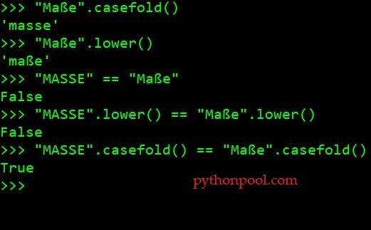 строчная строка Python с использованием case fold
