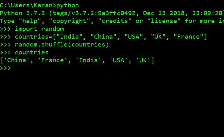 пример python shuffle()