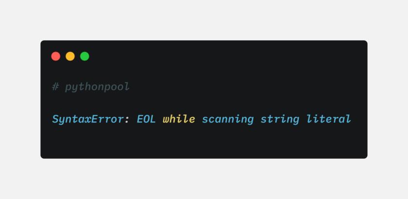 EOL при сканировании string literal Ошибка в Python