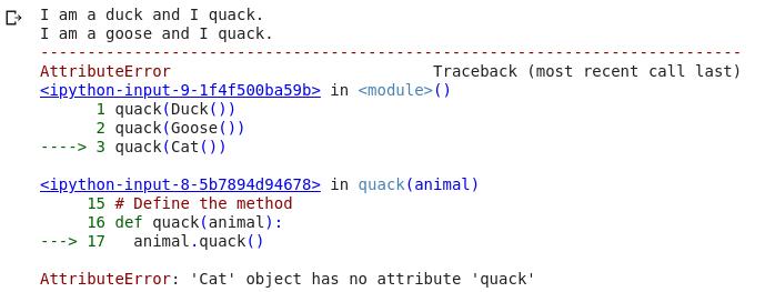 Ошибка quack - утка, набрав в Python
