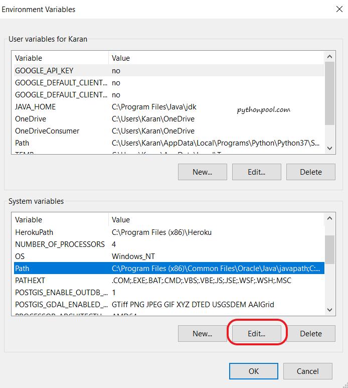 Изменить переменную окружения - Пул Python