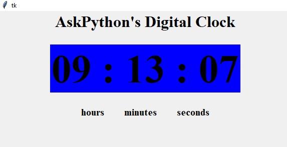 Цифровые часы в Python с использованием модулей TKinter и Time