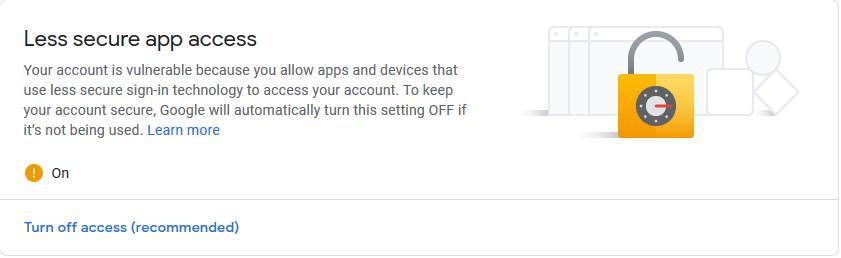 Менее безопасный доступ Gmail