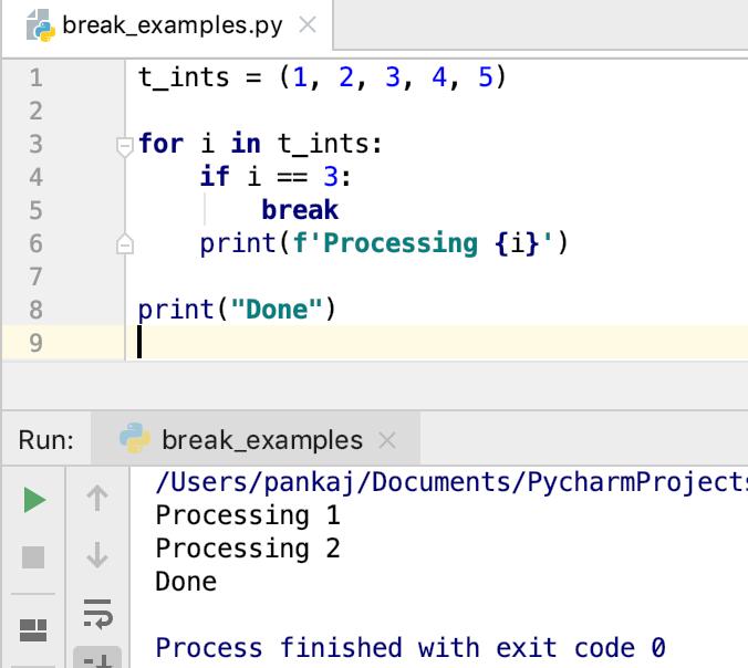 Заявление Python Break для петли