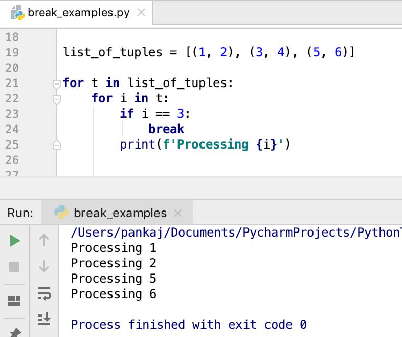 Выявление Python Break