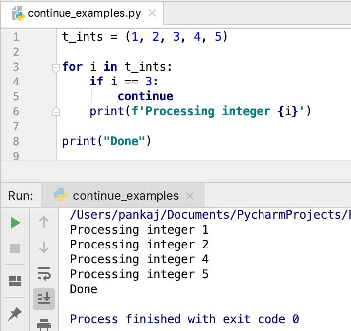 Python продолжить оператор для петли