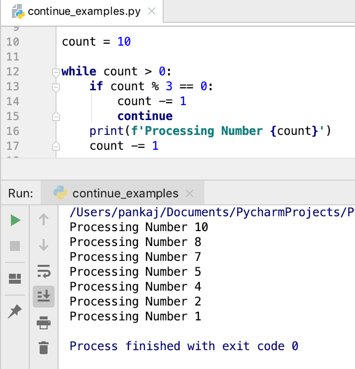 Python Продолжить оператор во время петли
