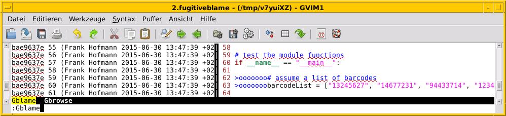 Выяснение того, кто изменил какую строку кода, используя `:Blame`